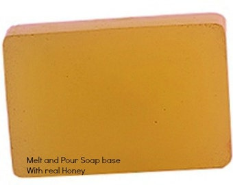 Glycerin Melt and Pour Soap base with real raw Honey 1 Lb Wrapped