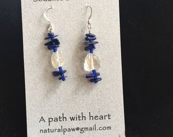 Relationship sodalite and quartz earrings, sterling wires, chakra, healing stones, crystal