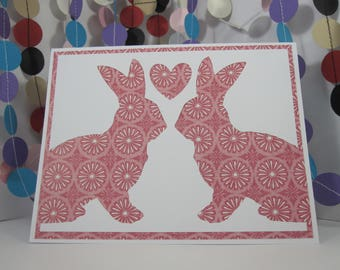Bunny Love Card - Easter rabbit - pink white - anniversary - wedding - any occasion - bunny lover - donation card