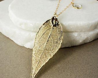 Gold Evergreen Leaf Necklace – London Blue Quartz, Teal Quartz, and Crystal Quartz Accents