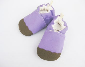 Organic Vegan Heavy Canvas Lavender and Brown / non-slip soft sole baby shoes / Made to Order / Babies Toddler Preschool