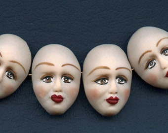 """Face  Beads  Lot   of 4     1 1/8  """" x 3/4""""  Polymer Finely  Detailed Side Drilled  SFB 6"""