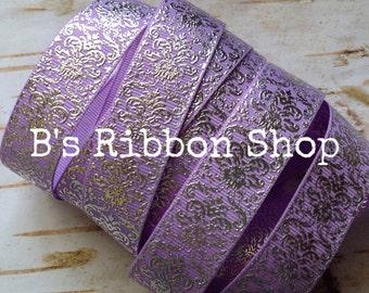 """7/8"""" Silver Foil Damask on Lavender USDR grosgrain ribbon"""
