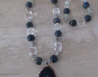Handmade one of a kind blue denim stone w/crystals necklace & bracelet set