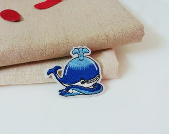 whale patch-blue-iron on -cartoon-embroidered patch-patch for jacket-kid patch-applique