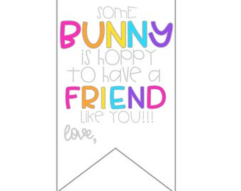 Summer tags summer gift tags hope your summer is poppin easter tags easter gifts easter printable tags easter for friends instant download some bunny is hoppy to have a friend like you negle Images
