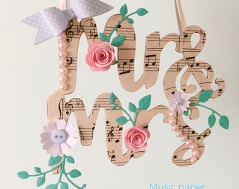 Mr & Mrs decoration - bridal gift or wedding display, wall art