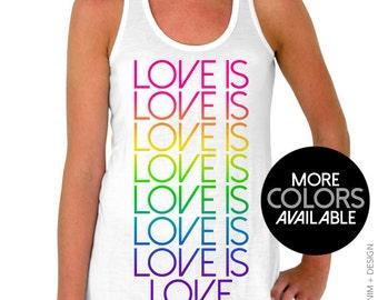 Gay Pride, Tank Top, Love is Love, Flowy Tank Top, Pride Shirt, LGBT Shirt, Gay Pride Shirt, LGBTQ, Rainbow, Love Stacked, Racerback Top