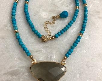 Smoky Quartz & Turquoise Necklace