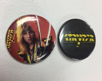 Stryper band pin 1980's pin back buttons vintage concert pins Set of 2