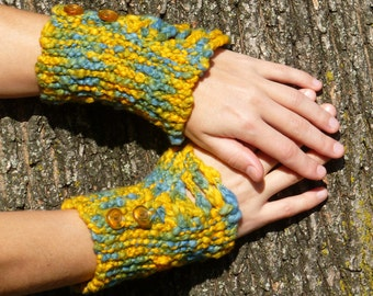 Handspun Fingerless Mitts, Blue and Yellow Cotton