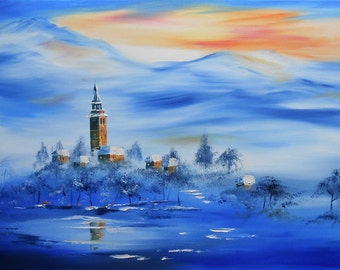 Painting The Village of the blue Mountain snow painting oil canvas