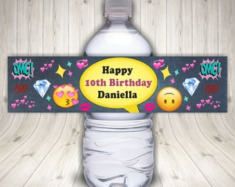 Emoji Birthday Water Bottle Label, Emoji Sticker, Emoji Icon, Emoji Theme Party, Emoji Printable, Emoji Faces, Emoji Party Favors, Decor
