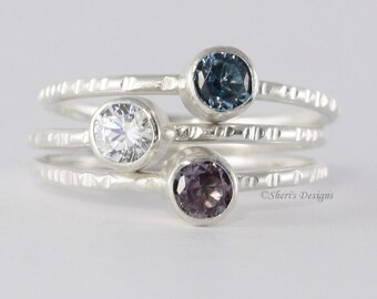 1 Gemstone Faceted Stacking Ring, 4mm birthstone,  Family & Mother's, Argentium Sterling Silver Skinny Ring, Custom made