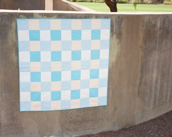 Blue and Cream Plaid Quilt - Baby Quilt - Baby Boy Quilt