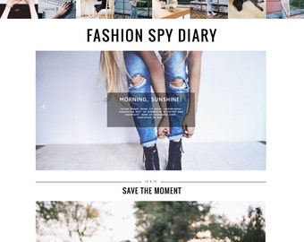 Blogger Template FASHION SPY DIARY Responsive // Premade Instant download Grid Popular Posts Feature Blogspot Blog