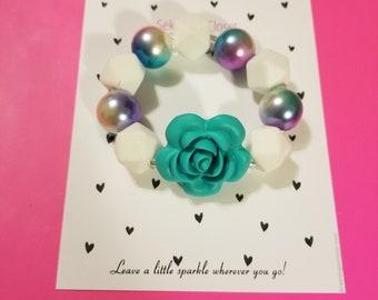 Flower beaded chunky girls bracelet