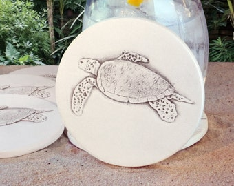 Sea Turtle Drink Coasters, Absorbent Coasters, Beach House, Barware