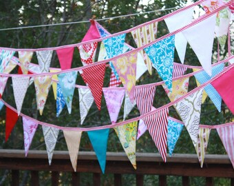 Bridal Bunting, Custom 80' of Fabric Wedding Flag Banner Decorations in Your Chosen Colors.  TWO X 40 Foot Bunting