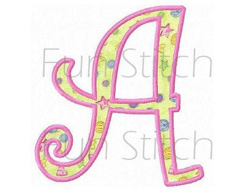 Set of curly applique font letters machine embroidery design