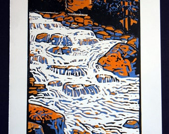 Hand printed 3 color reductive linoleum block print: Go with the flow, river, waterfall