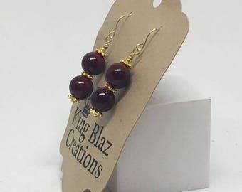 E1849: Burgundy Red and Gold Dangle Earrings