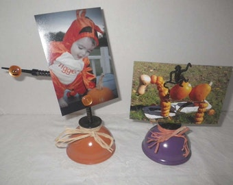 Vintage Oil Can Upcycled Halloween Photo / Message Holder including a Flying Monkey