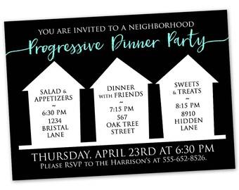 Progressive Dinner Party Invitation - Announcement Card Digital Customized Custom Neighborhood Block Party House Gathering Black White