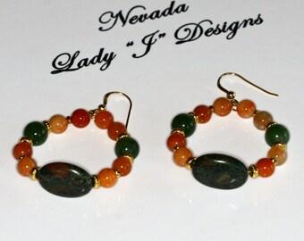 Green Jade and Peach Quartz Beaded Hoop Earrings