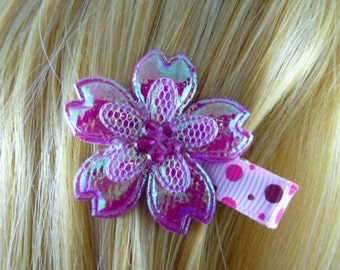NEW - Iridescent Fushia Pink Flower Hair Clip, Hair Accessory, Hair Bow - HM11