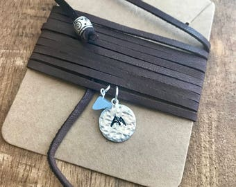 Wrap Dark Brown Leather Necklace with Handstamped Silver Mountain and Healing Stone