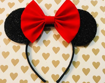 Beautiful Red Velvet Bow Tie inspired Black Spare Minnie Mouse Headband Ears
