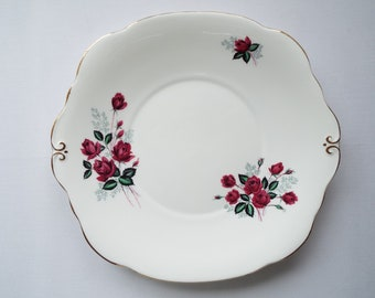 Vintage Duchess China Sandwich Plate Or Large Cake Plate With Deep Pink Roses. Pink Plate or Serving Platter, Perfect For A Pretty Tea Party