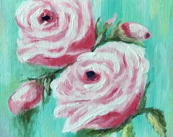 Pink rose painting, original art, floral, rose art, flower, home decor