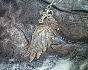angel wing necklace brass cross etched metal jewelry brass wing