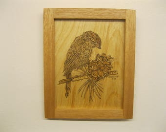 CANADIAN CHICADEE, woodburned by Rakowoods, ready to hang, gift for birthdays,grandchildren, den, cabin This is one of a kind, original