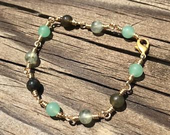 Wire-wrapped bracelet: green aventurine, labradorite, prehnite
