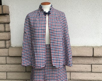Vintage 60s 70s Houndstooth Cape and Skirt Set, Red Plaid Cape Skirt, 2 Pieces