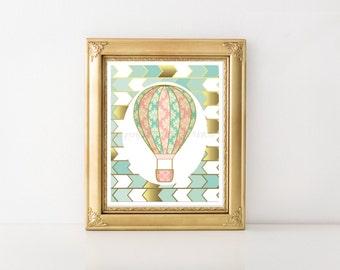 Hot Air Balloon Nursery, Hot Air Balloon Printable Decoration,Hot Air Balloon Printable, Hot Air Balloon Decor, HotAir Balloon 0188