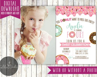Donut Birthday Invitation, Donuts, Donut Party, Donut Birthday, Invite, Photo - Printable DIY