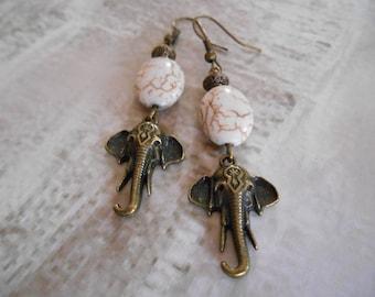 Elephant shape earrings, stone bohemian earrings