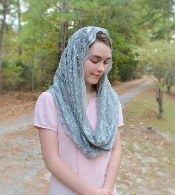 Soft Silver Chapel Veil | Grey Catholic Chapel Veil Catholic Mantilla Catholic Veil Church Veil Mass Veil Veils for Mass Robin Nest Lane