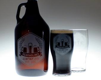 Personalized Beer Growler & 2 glass set with Beer Label art , wedding gift , personalized growler, custom Beer Glass,Beer Gift, Beer