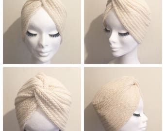 Snow White DIVA TURBAN Winter Collection Vintage Inspired handknitted Turban 100% Alpaca Wool