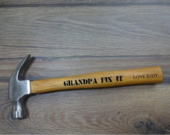 Personalized Engraved Hammer. Gift for Him: Dad, Husband, Brother, Boyfriend, Grandpa, Groom, Groomsman, Uncle, cousin. Personalized tools