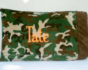 Personalized Toddler Pillows, Baby Pillowcase - Travel Pillows , Minky Pillow Cases for Kids  - Camo or Any Colors, Includes 12x16 Pillow