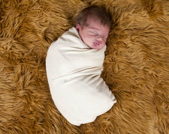 Organic Baby - Swaddling Blanket  - Hemp Organic Cotton Jersey in Natural Color - Eco Friendly - Baby Blanket