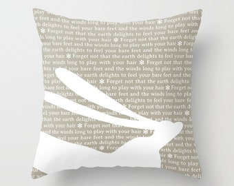 36 colours, Taupe, FRESH HARE quote pillow, hare pillow, beige decor, kahlil gibran quote, Faux Down Insert, Indoor or Outdoor Options