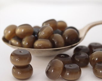 25 Cats Eye Glass Abacus Rondelle Beads Honey Brown Size 12 x 8mm
