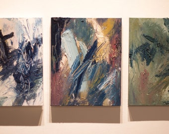 Oil Painting, Abstract Painting, Triptych Painting
